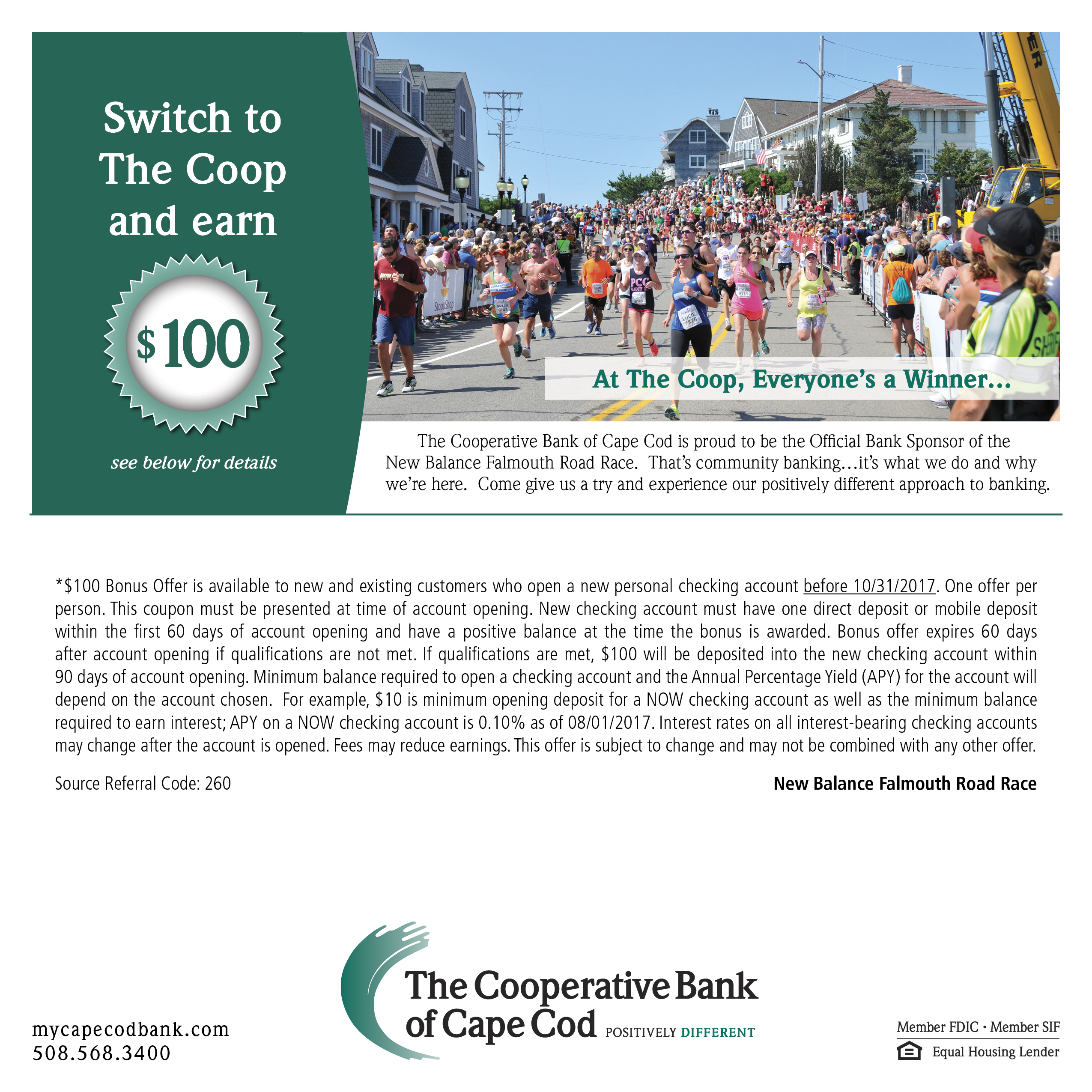 Falmouth Road Race $100 Offer