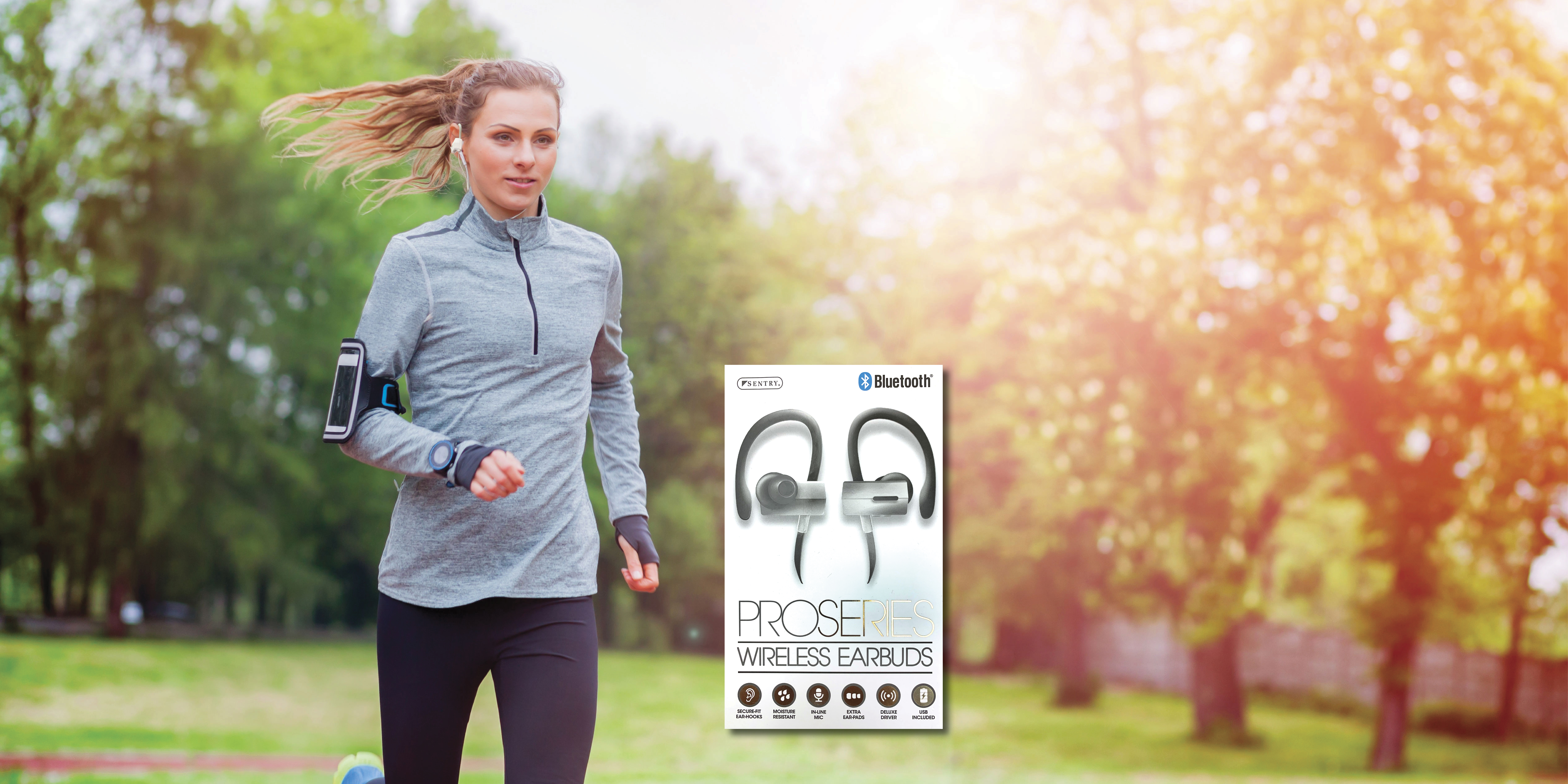 Running woman with wireless earbuds