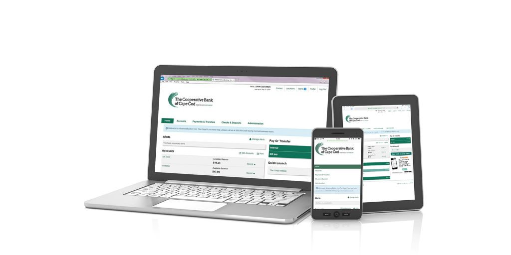 photo of The Coop's Business Online Banking shown in computer, tablet, and mobile.