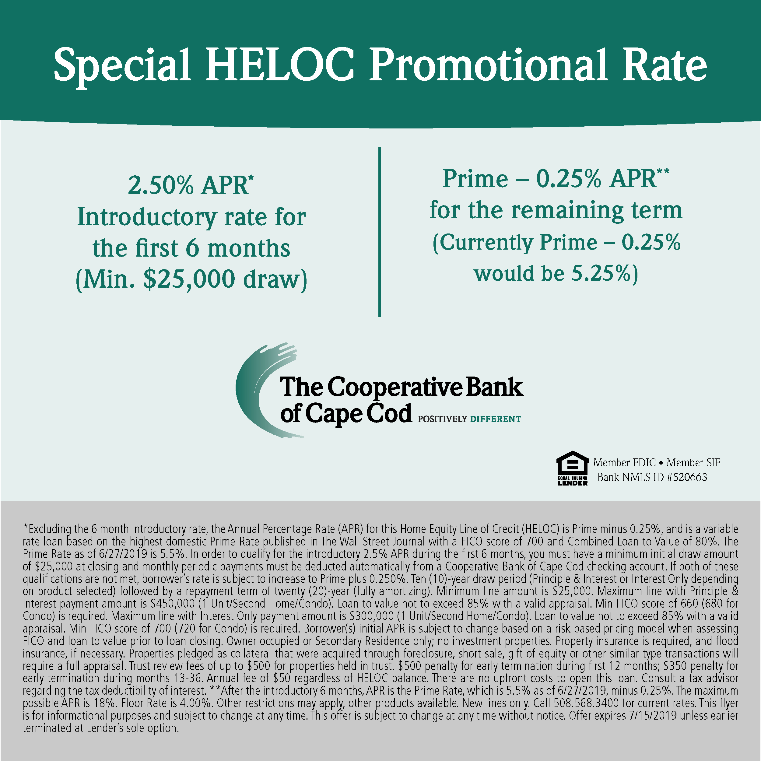 Special HELOC Promotional Rate