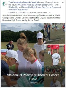 Olympic Gold Medalist Kristine Lilly taught about 100 children at our 9th Annual Positively Different Soccer Clinic in September.