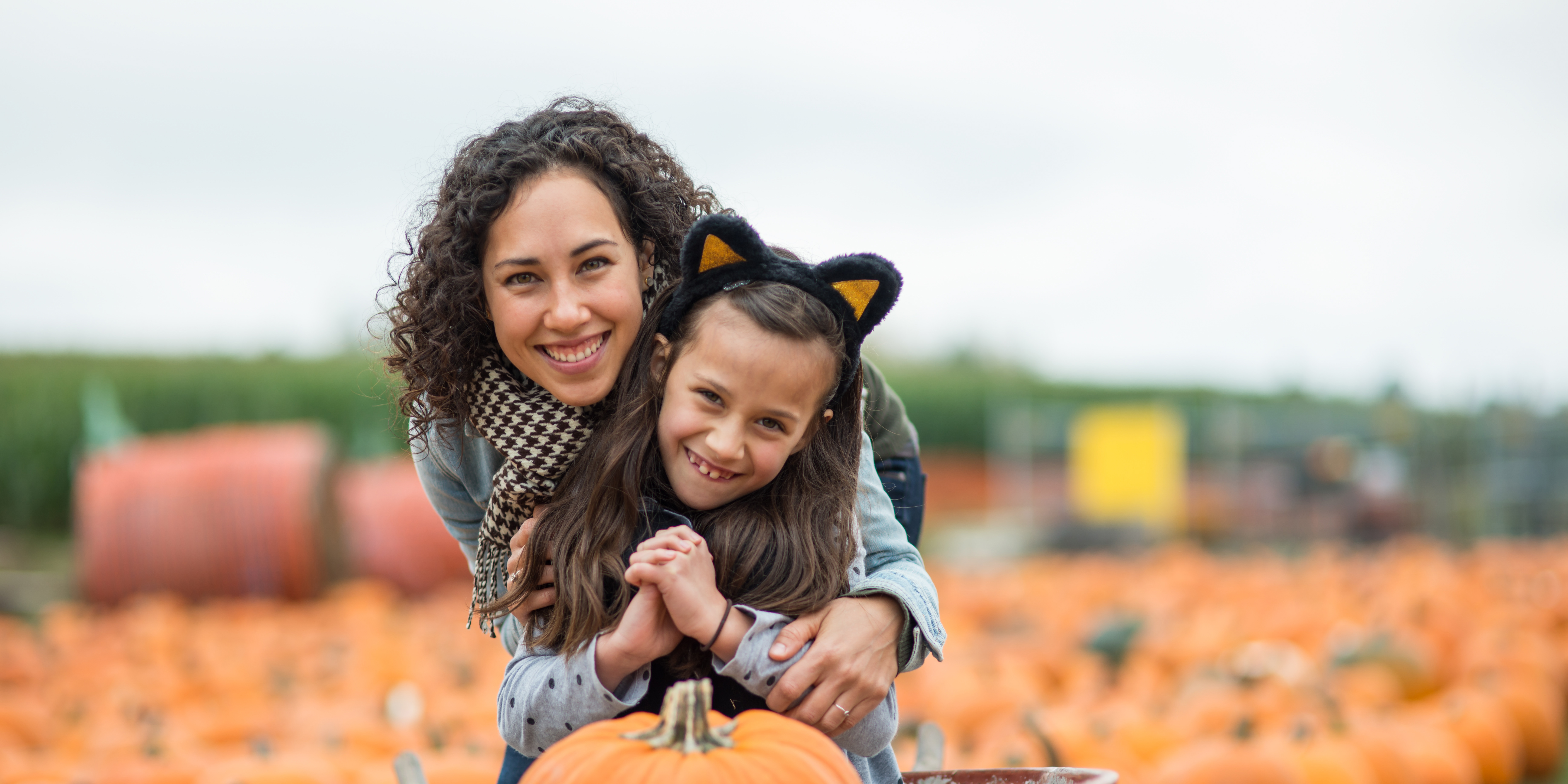 Mom pushes her daughter, who is dressed up like a cat, and a giant pumpkin around in a wheelbarrow in a big pumpkin patch field.