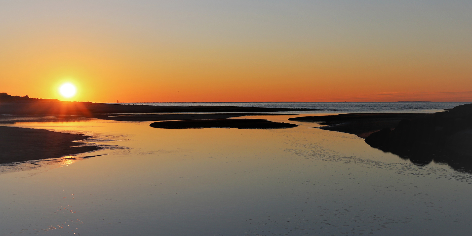 Winter Sunset over Paine's Creek Beach in Brewster
