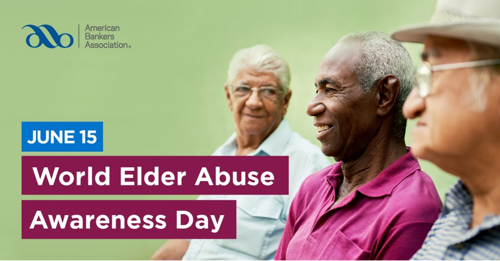Three male senior citizens chat about Elder Abuse