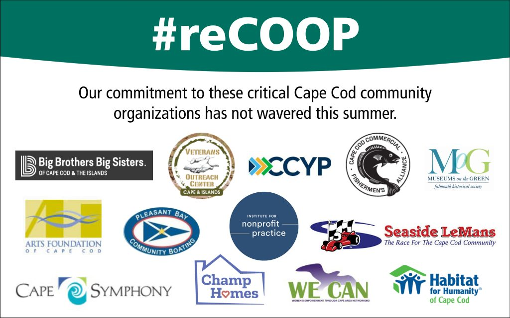 graphic with logos of grant recipients with ReCOOP hashtag
