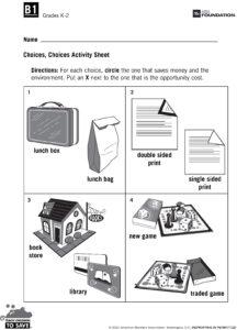 Choices, Choices Activity Sheet