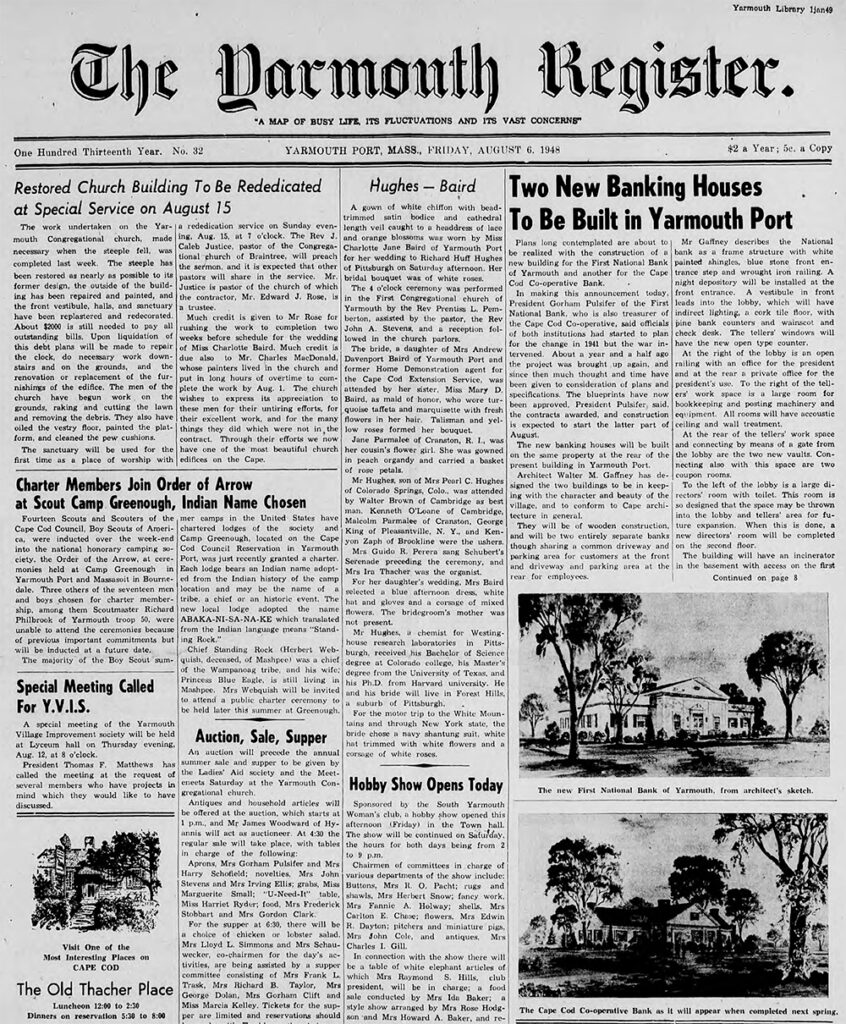 Front page of The Yarmouth Register from 1948