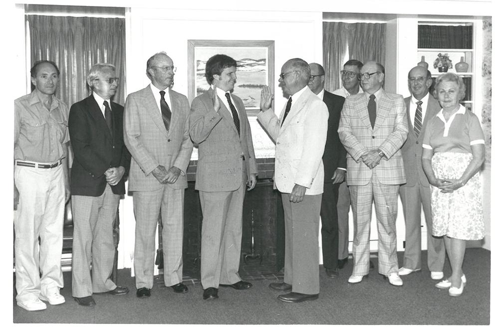 Joel being sworn in