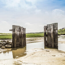 Image of Old Flood Gates at a beach in Cape Cod