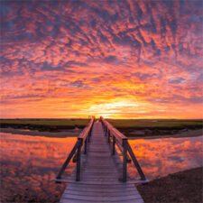 Image of the sunset at the Sandwich Boardwalk